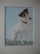 tableau animaux fox terrier chienne jack russell : Chien