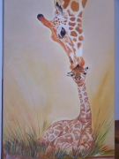 tableau animaux girafe brousse girafeau sauvage : Amour maternel
