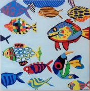 "tableau animaux poissons multicolore aquarium imaginaire : "" aquarium imaginaire """