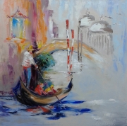 tableau architecture abstraction : painting*Venise 2*oil on canvas 70x70 cm