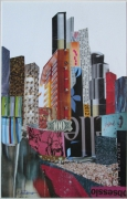 tableau architecture new york architecture collage art papier : NEW YORK CINQ
