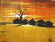 tableau architecture nigerian art northern nigeria africa color auchi school : GWARI AT SUNSET
