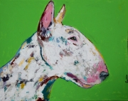 tableau bull terrier chien moderne colore : Nelson