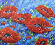 tableau fleurs coquelicot poppy poppies floral : Coquelicots royal