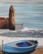 tableau marine barque plage mer collioure : TEMPETE A COLLIOURE