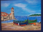 tableau marine collioure barques : Collioure et ses barques catalanes