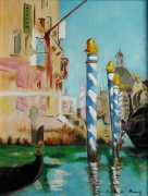 "tableau marine : copie de Manet ""Le grand canal"""