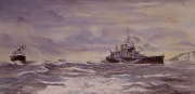 tableau marine cuirasse renown convoi maritime peintre de la marine royal navy : Over Road
