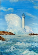 tableau marine phare mer tempete vagues : Phare sous le vent