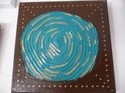 tableau marron turquoise dore : Hypnose...