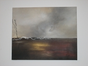 tableau mer gris vague : tornade