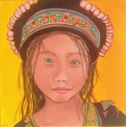 tableau nang portrait asie l little girl laos pai painting laos portra : nang