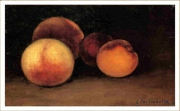 "tableau nature morte : copie Caillebote ""Pêches, nectarine et abricot"""