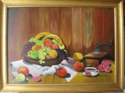 tableau nature morte plat de fruit cafe lambris campagne : fruits et café