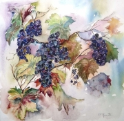 tableau nature morte raisins aquarelle aquarelle vigne fruits aquarelle : La vigne