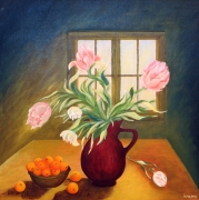 tableau nature morte : Tulipes et mandarines