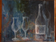 tableau nature morte verre vin aperitif bar : transparence