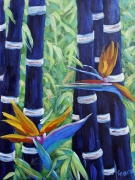 tableau paysages bamboos landscape nature oiseax de paradis : Abstract Bamboo and Birds of paradise 04