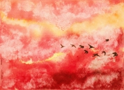 tableau paysages : Birds in a sunset