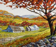 tableau paysages canada paysage automne quebec : Valley View