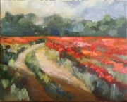 tableau paysages chemin coquelicots juziers : Chemin des hauts de Juziers et coquelicots