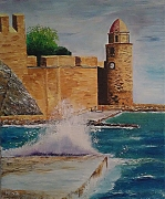 tableau paysages collioures vague eglise pyrenees orientales : Collioure (La vague)