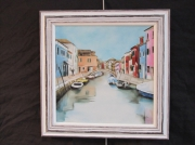 tableau paysages coloree canal pastel burano : Rue de burano