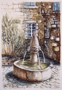 tableau paysages fontaine water fountain : Fontaine de Lourmarin 1