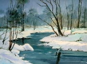 tableau paysages hiver riviere neige : Campagne hivernale
