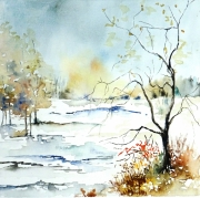 tableau paysages neige semiabstrait arbre neige hiver semiabstrait : Silence