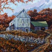 tableau paysages paysage nature canada quebec : Still Standing Farm Scene