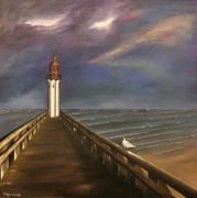 tableau paysages phare mer : Solitude