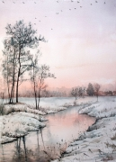 tableau paysages riviere rose serenite ambiance : Calme hivernal