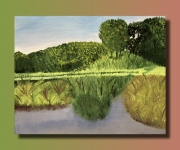 tableau paysages toile lin huile paysage : Paysage nature