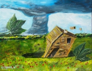 tableau paysages tornade ouragant campagne chat : Attention tornade