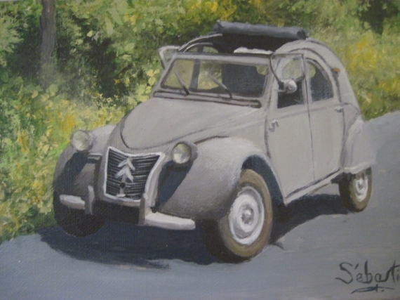 tableau peinture 2 cv voiture 2 cv. Black Bedroom Furniture Sets. Home Design Ideas