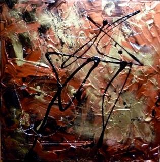 Tableau peinture abstrait acrylique effet cuivre difficulties - Peinture effet cuivre ...