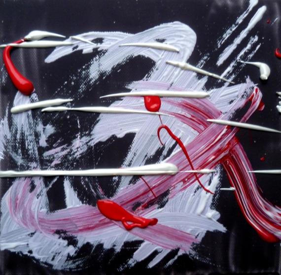 Tableau peinture abstrait acrylique rose fushia tendance - Peinture rose fushia ...