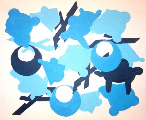 Tableau peinture abstrait bleu peinture toile rgle du - Camaieu de bleu peinture ...
