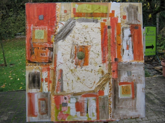 Tableau peinture abstrait collage matiere couleur for Peinture a lhuile couleur argent