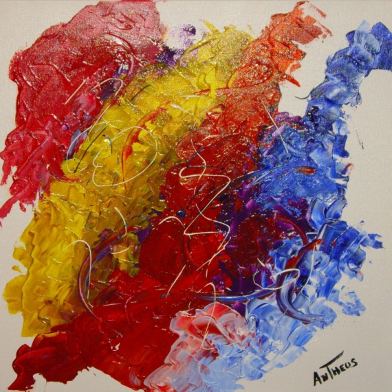 tableau peinture abstrait couleur bleu rouge abstrait acrylique colors - Tableaux Abstraits Colors