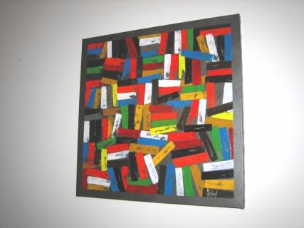 Tableau peinture abstrait couleurs dominos jeu de couleurs for Peinture a lhuile couleur argent