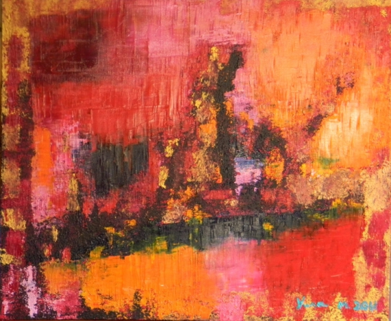 Tableau peinture abstrait expressionnisme huile art blues dans mon univers de couleurs for Photo de tableau abstrait