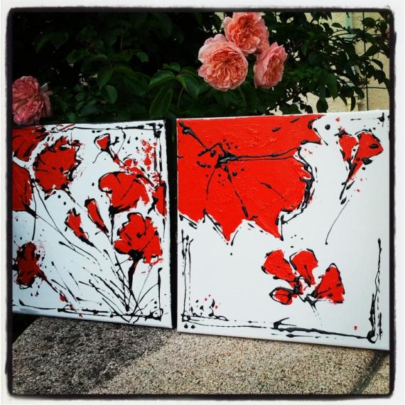 tableau peinture abstrait fleur coquelicot moderne