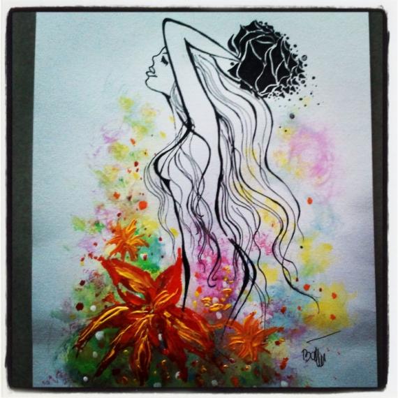 Bien connu Tableau Peinture Femme noire - Galerie-Creation HB24