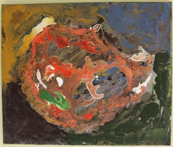 Tableau peinture abstrait forme multicouleur moutarde for Forme peinture