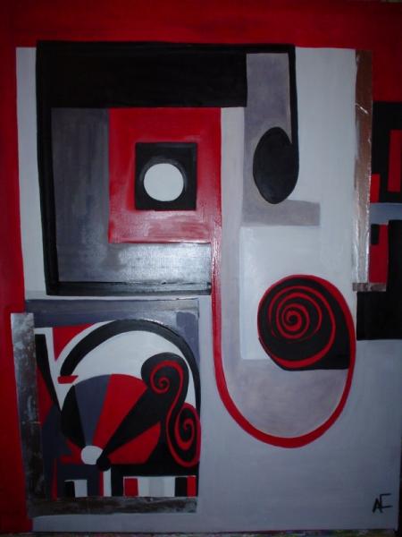 tableau peinture abstrait geometrique huiles en rouge et noir. Black Bedroom Furniture Sets. Home Design Ideas