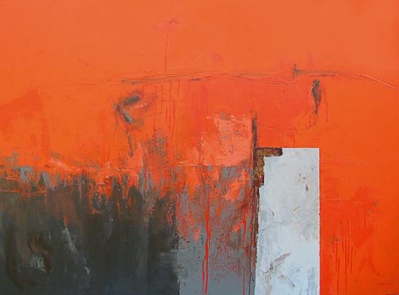 Tableau peinture abstrait marine bateau matire l orange - Acheter une peinture sur toile ...
