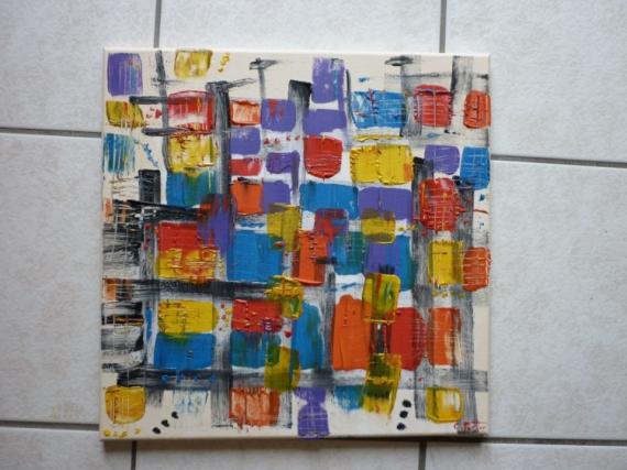 Tableau peinture abstrait moderne contemporain multicolor - Tableau peinture acrylique moderne ...