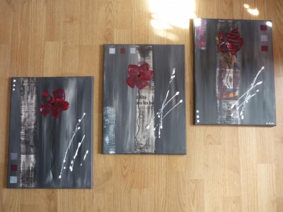 Tableau peinture abstrait moderne contemporain tryptique the real one - Tableau peinture acrylique moderne ...